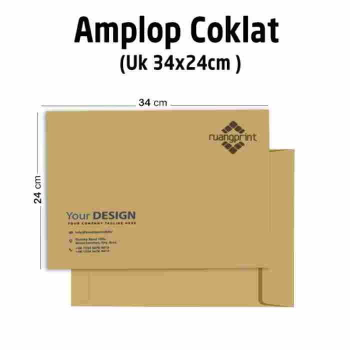 Custom Amplop Coklat  (34 x 24 cm)