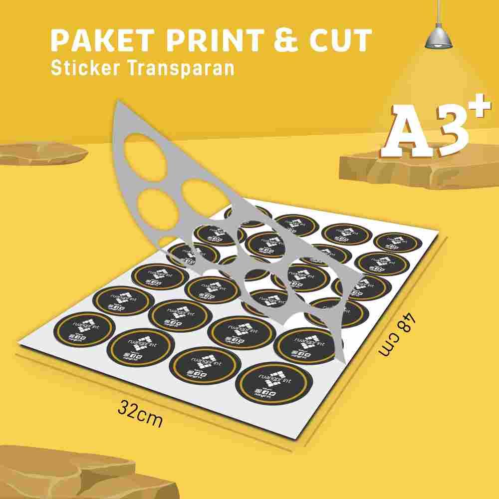 PAKET Print & Cut Sticker Transparan A3