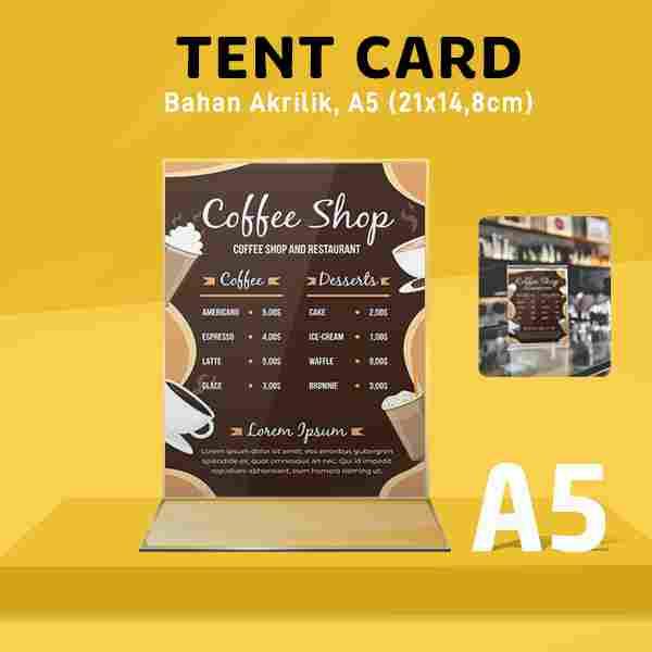 Tend Card Akrilik A5 (Bentuk T)