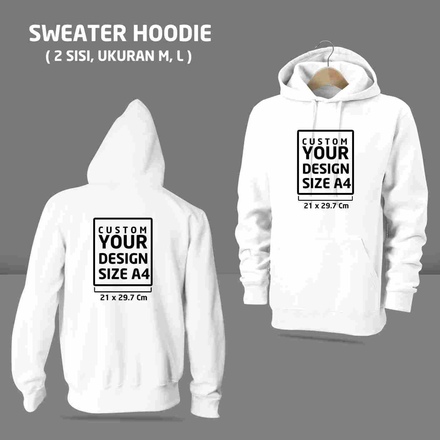 Sweater Hoodie Custom 2 Sisi (M, L)