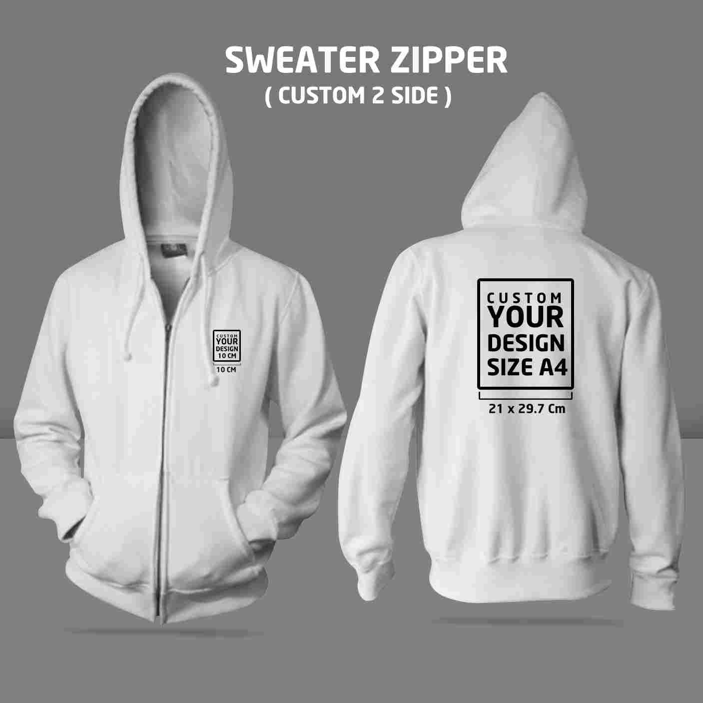 Sweater Zipper Custom 2 Side ( M, L )