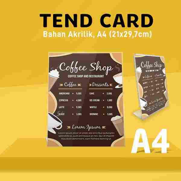 Tend Card Akrilik A4 (Bentuk L)
