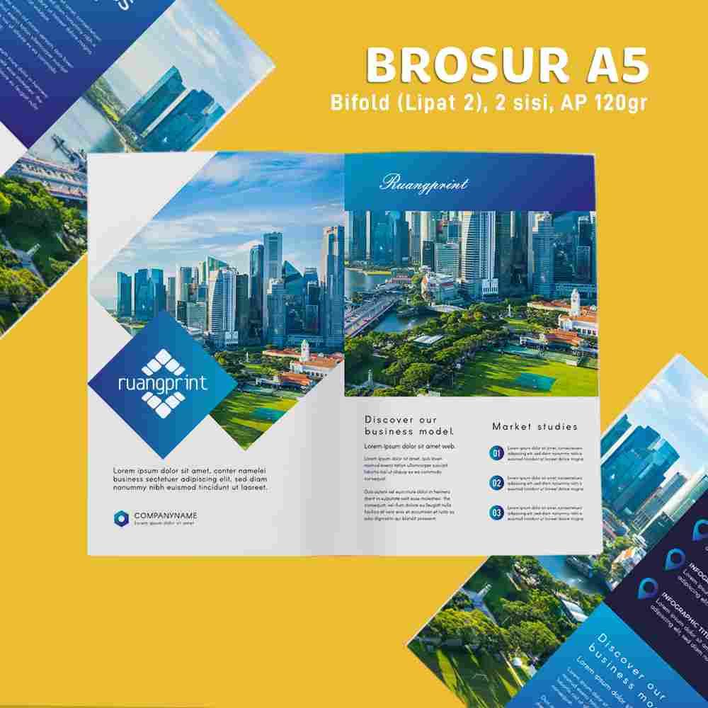 Paket Brosur Bifold A5 1 Rim (Art Paper 120gr)