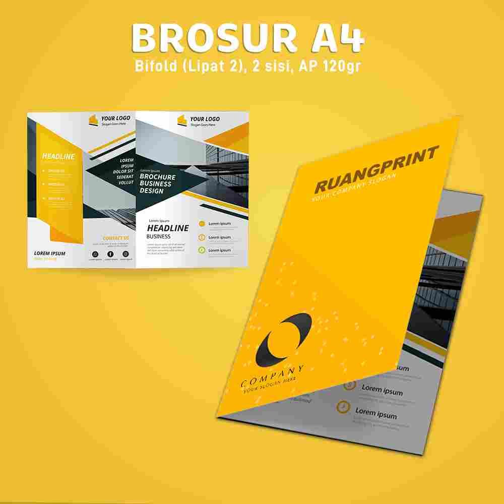 Paket Brosur Bifold A4 1 Rim (Art Paper 150gr)