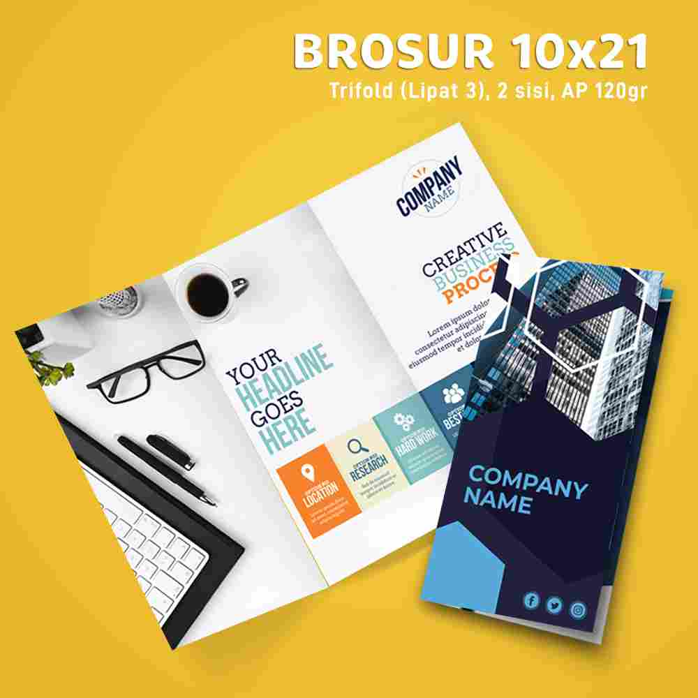 Paket Brosur Trifold 10x21cm 1 Rim (Art Paper 120gr)