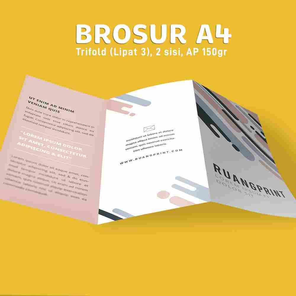 Paket Brosur Trifold A4 1 Rim (Art Paper 150gr)