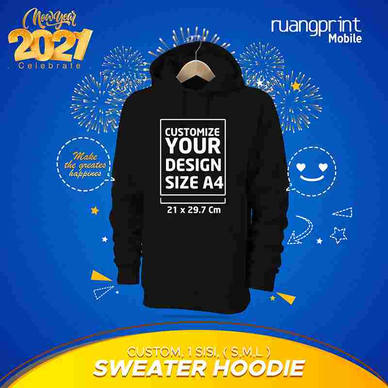 Sweater Hoodie Custom 1 Sisi ( M, L )