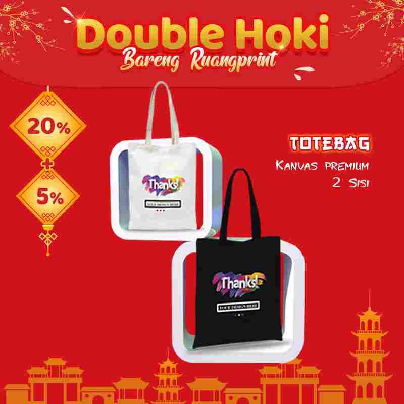 Custom Tote Bag Premium Full Color 2 Sisi (30 x 40 cm)