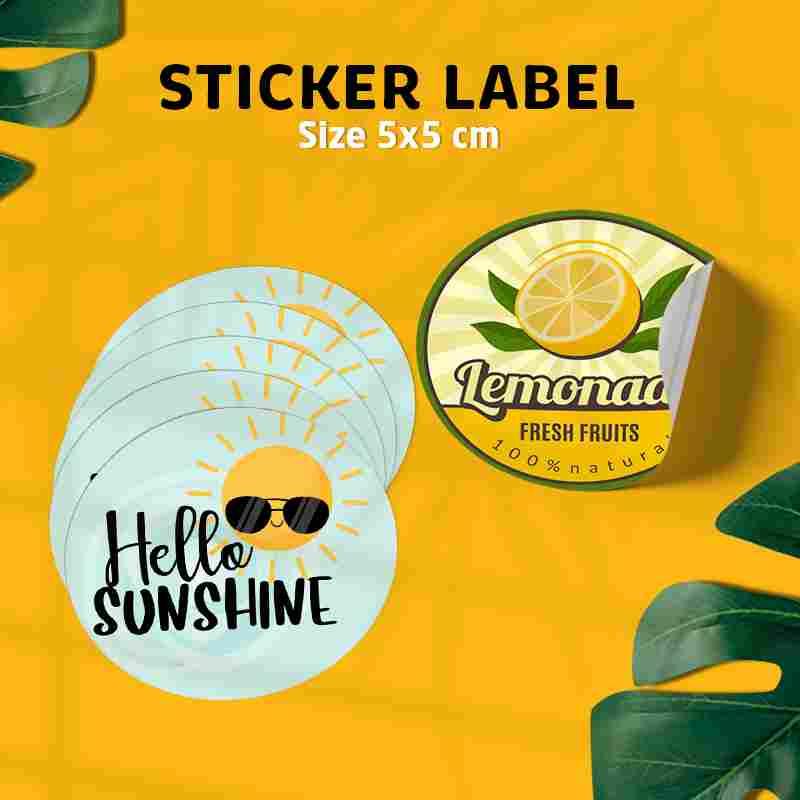 Sticker Label Custom Bulat Transparan 5x5 cm