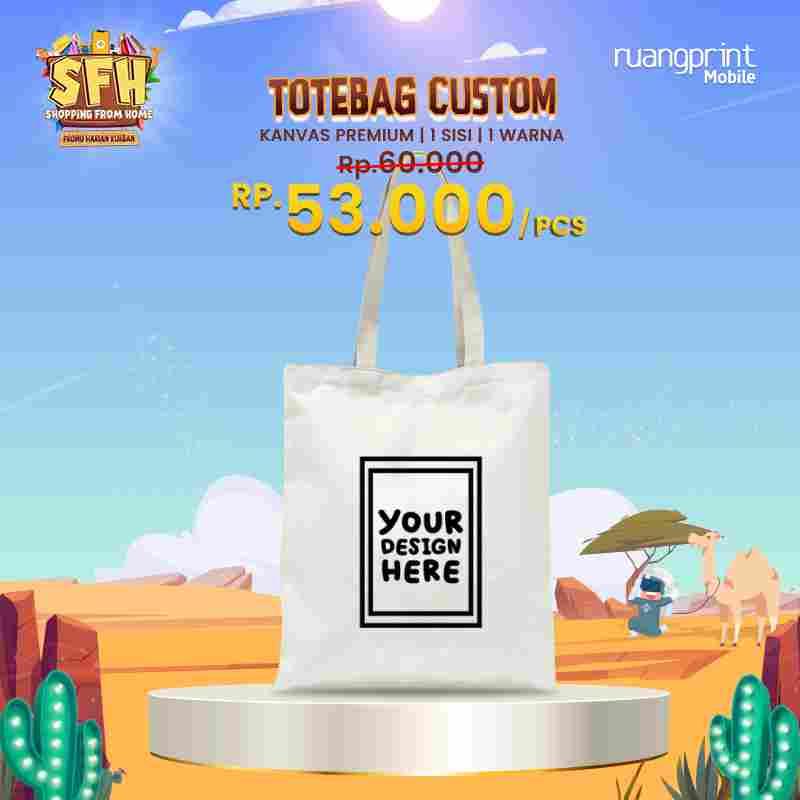 Custom Tote Bag Premium 1 Warna 1Sisi (30 x 40 cm)